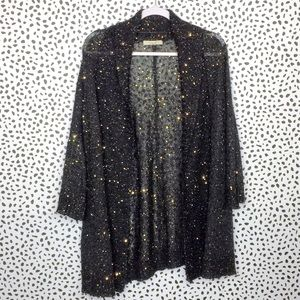 Sejour Gray Sequin Open Front Cardigan Size 2X